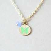 Butterfly Stamped Charm Necklace - Light Green & Blue