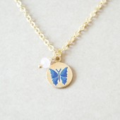 Butterfly Stamped Charm Necklace - Navy Blue and Pink