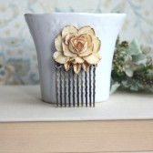 Ivory Antiqued Gold, Shabby Chic, Small Vintage Style Ivory Rose Flower Hair Comb. Ivory Gold Rose Hair Comb.