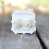 Cream Ivory Rose Flower Earrings