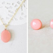 Coral Gold Locket with Matching Enamel Studs Set