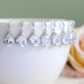 Six Pairs LARGE Teardrop White Crystal Cubic Zirconia Earrings