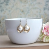 Bridal Wedding Earrings, Matte Gold Lotus, Large White SHELL Drop Earring,