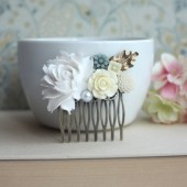 Large Dusty White Rose, Dusty Blue, Ivory Rose, Ivory Pearl Brass Oak Leaf Flower Wedding Comb
