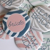 Zebra Print Team Bride Buttons