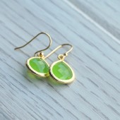Peridot Glass Jewel Earrings