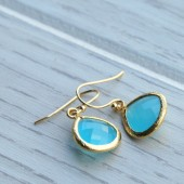 Aqua Glass Jewel Earrings