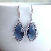 Montana Blue Glass Cubic Zirconia Earrings