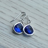 Sapphire Glass Jewel Earrings
