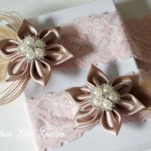 Lace Wedding Garter Set, Blush Pink Lace Garters, Champagne Bridal Garter, Peacock Garter, Pink Lace Garter, Kanzashi Flower, GATSBY Wedding