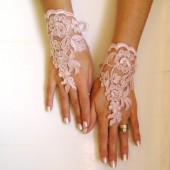 Soft pale pink Wedding gloves lace gloves free ship