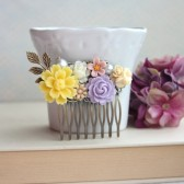 Yellow, Purple, Ivory, Pink, Brown Flower Filigree Hair Comb. Vintage Style Comb