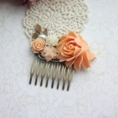 Peach Orange Rose, Ivory, Pearl, Brass Leaf, Pearl Flower Hair Comb. Bridesmaids Gift, Bridal Hair Accessory.