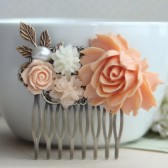 Large Peach Flower Hair Comb