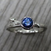 Blue Sapphire Budding Branch Ring in White Gold