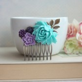 Aqua Blue, Lavender, Purple, Amethyst, Egg Plant Purple Flowers Brass Hair Comb. Bridesmaid Gifts
