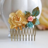 Shabby Chic Large Cream Ivory Rose Patina Leaf Pink Blue Flower Hair Comb. Rustic Vintage Collage Hair Comb. Woodland Wedding Fall Autumn