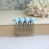 Aqua Tiffany Blue Tiny Rose Buds Flower Filigree Hair Comb. Bridesmaids Gifts