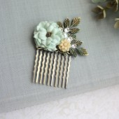 Wedding Hair Comb. Mint Green Rose, Peach, Shabby Chic, Pearl, Patina Verdigris Flower Hair Comb