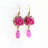 Magenta Pink Rose Crystal Earrings