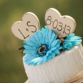 Monogram Rustic Wedding Cake Toppers Hand Engraved with Your Initials and Wedding Date Vintage Wood Hearts