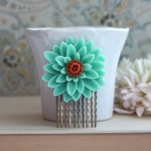 Wedding Hair Comb. Large Chrysanthemum, Mum, Vintage Style. Large Flower Hair Comb. Turquoise Hair Comb