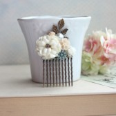 Wedding Hair Comb. Ivory Rose, Peach, Shabby Chic, Pearl, Leaf, Small Flower Hair Comb.