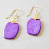 Violet Stone Wire Wrapped Earrings