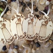 Propose to your Bridal Party Will you be my Bridesmaid Gift Tags Personalized with Each name and Dress Christmas Ornament Table Setting