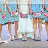 Bridesmaid Clutch in Gray and Coral