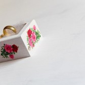 Shabby Chic Wedding Ring Box with Roses - Pillow Alternative