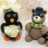 penguin cake topper, raccoon cake topper, penguin and raccoon, custom cake topper, wedding cake topper