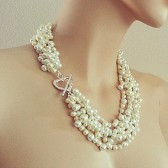 Wedding Jewelry - Bridal Necklace - Cream Pearl Chunky Necklace - Vintage Inspired Bridal Jewelry Heart Connector Toggle