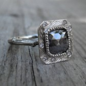 Grey Diamond Twig Engagement Ring, White Gold, 1.35ct, One of a Kind