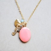 Nautical Seahorse & Sea Shell Charms Necklace with Coral Enamel Locket