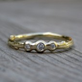 Diamond Pebble Twig Stackable Ring, Yellow, White or Rose Gold