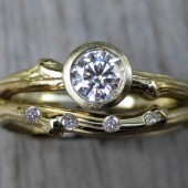 Diamond Twig Engagement and Wedding Ring Set, .25ct VS/GH Diamond Solitaire, Scattered Diamond Band