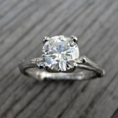 Moissanite Branch Engagement Ring: White, Yellow, or Rose Gold, Prong Setting, 1ct