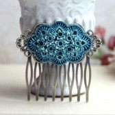 Dusty Blue Floral Hair Comb