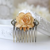 Wedding Bridal Ivory Rose Filigree Hair Comb