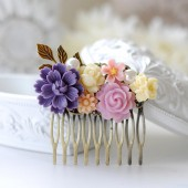 Purple Lilac Ivory Pink Flower Collage Hair Comb