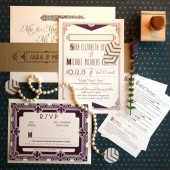 Art deco wedding invitations inspired by the Great Gatsby & roaring twenties