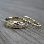 Twig Wedding Band Set: Yellow, White, or Rose Gold; Set of Two Branch Rings