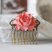 Dusky Pink Powder Pink Wedding Bridal Rose Flower Hair Comb