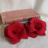 Red Burlap Flowers