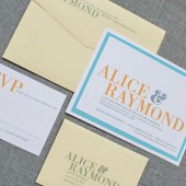 Cheery, Modern Yellow and Aqua Blue Wedding Invitation Suite - Alice and Raymond - Custom Colors Available