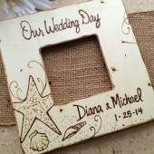 Custom Wedding or Engagement Frame for Couples Perfect for destination Wedding Starfish, Beach, Hawaii