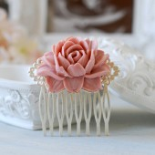 Matte Silver Filigree Dusty Pink Rose Flower Hair Comb