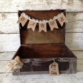 Rustic Wedding Card Box,Burlap Banner, Burlap Wedding
