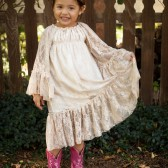 Lace Peasant Ruffle Dress